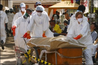 Victims brought through the temple for DNA protocol