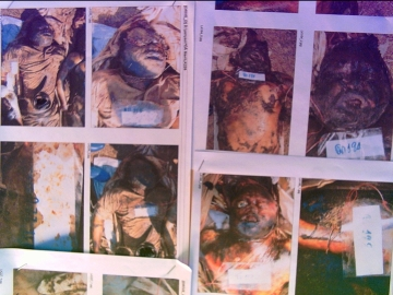 Victim Photographs taken by the forensic teams to help with the formal identification.