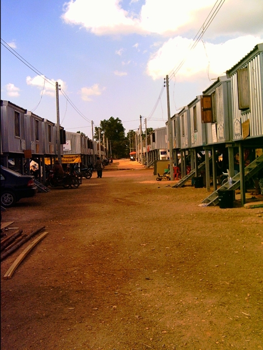 Shelter for those made homeless - here these homes are on stilts