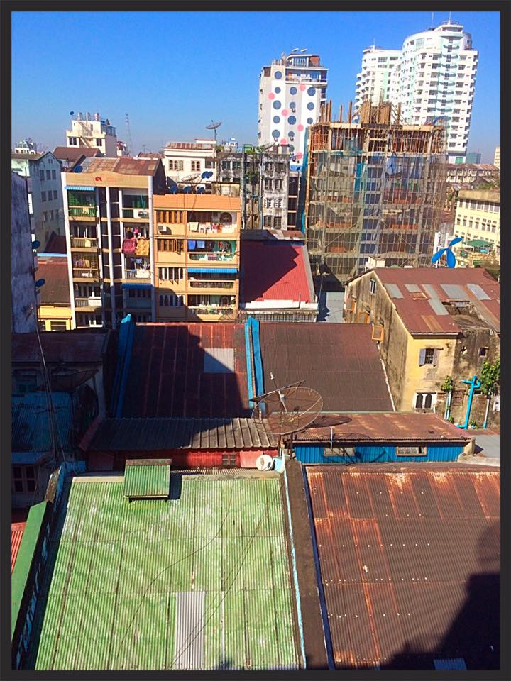 Rooftops from the hostel window - Yangon