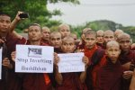 Burma - Buddhist Monks protest about the Rohingya
